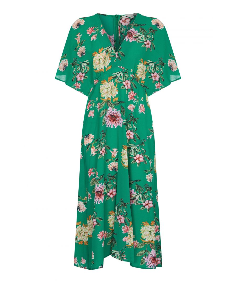 Image for Peony Print Kimono Sleeve Midi Dress