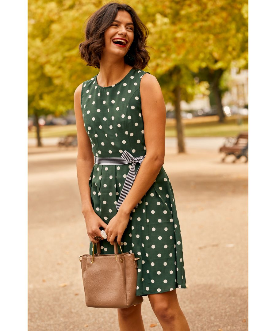 Image for Green Spot Print Dress With Contrast Belt