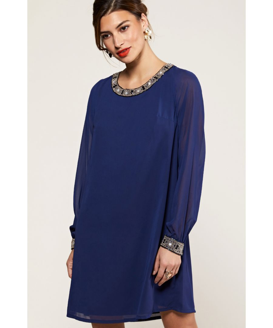 Image for Navy Embellished Neck And Cuff Tunic Dress