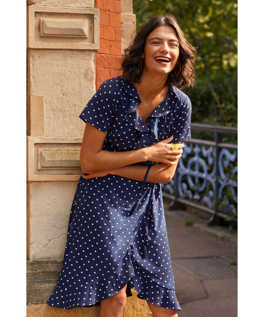 Image for Navy Spot Print Wrap Dress