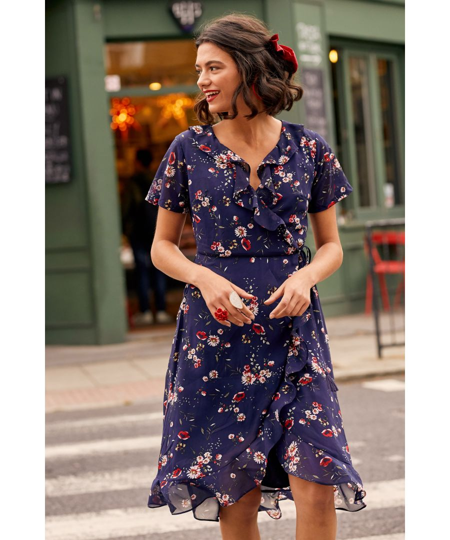 Image for Navy Daisy Print Wrap Dress