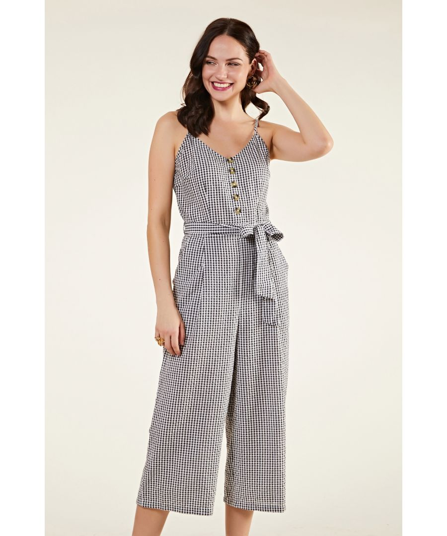 Image for Gingham Cotton Jumpsuit With Button Deta
