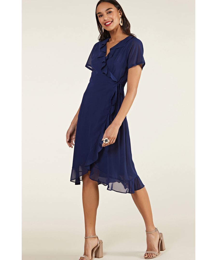 Image for Navy Frill Wrap Dress With Tassel Detail
