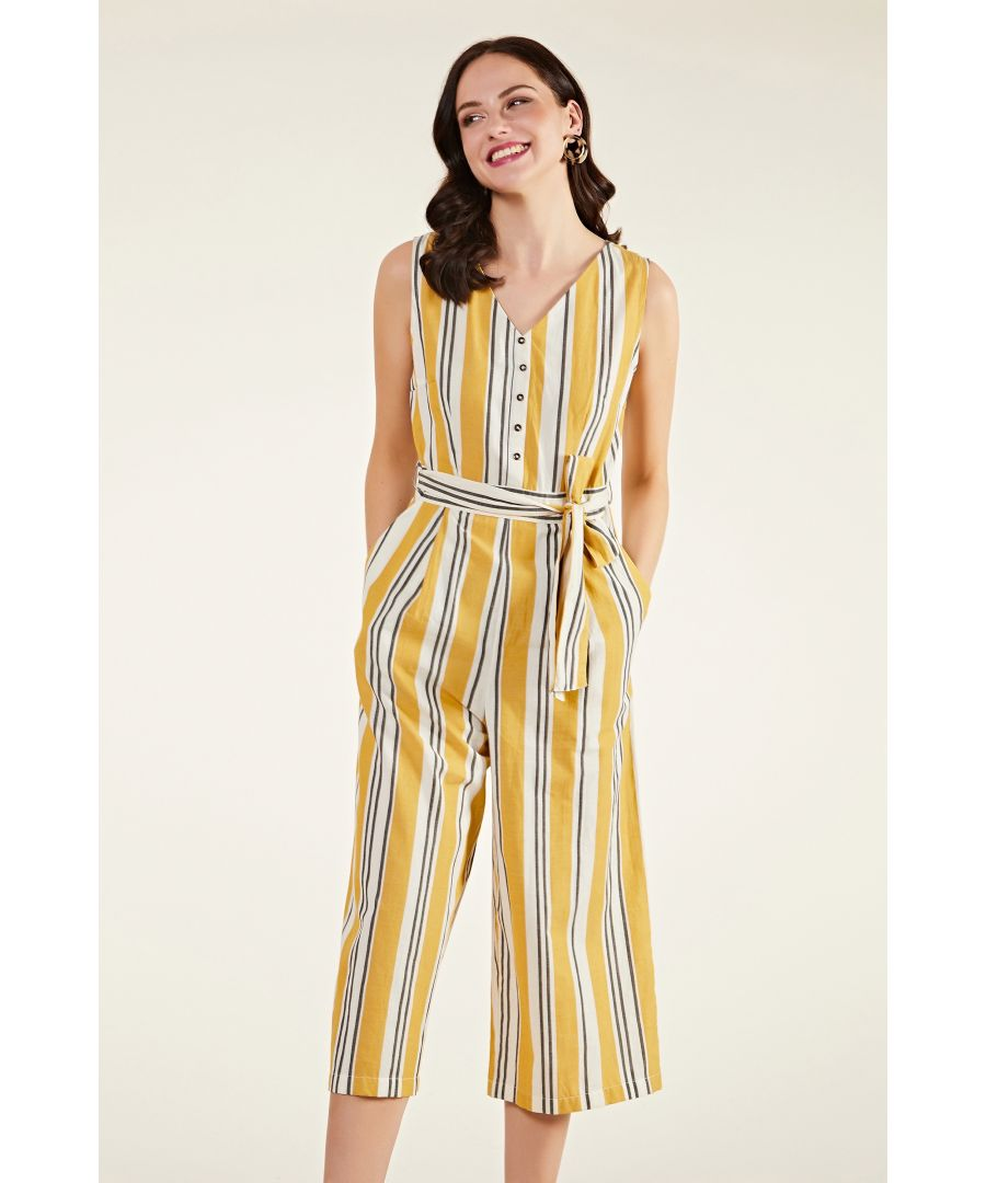 Image for Cotton Stripe Jumpsuit With Button Detai
