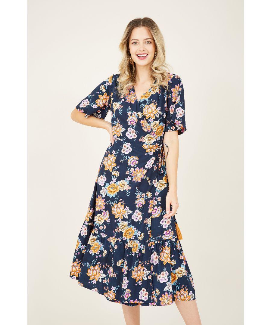 Image for Black Ethnic Floral Print Wrap Dress Wit
