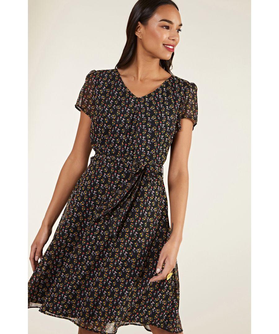Image for Black Ditsy Print Skater Dress