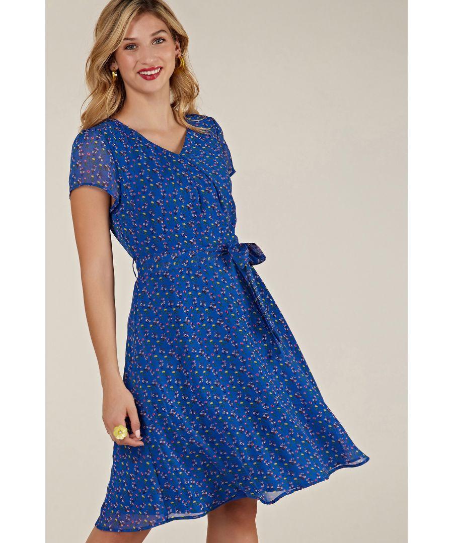 Image for Blue Ditsy Floral Skater Dress