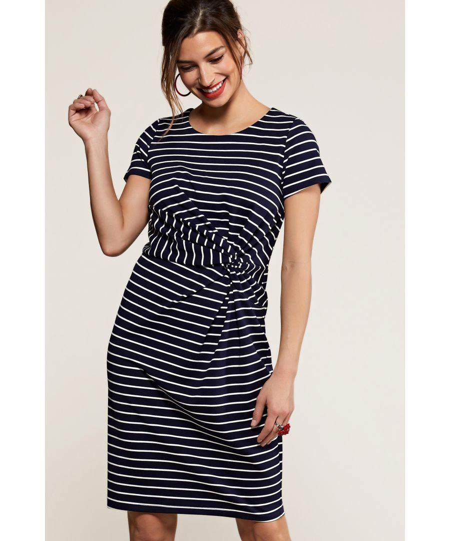 Image for Navy Nautical Stripe Twist Knot Dress