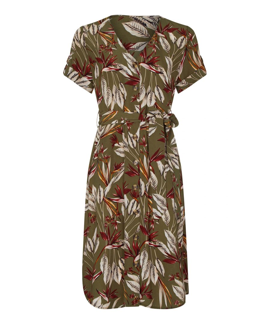 Image for Leaf Print Shirt Dress With Tie Belt