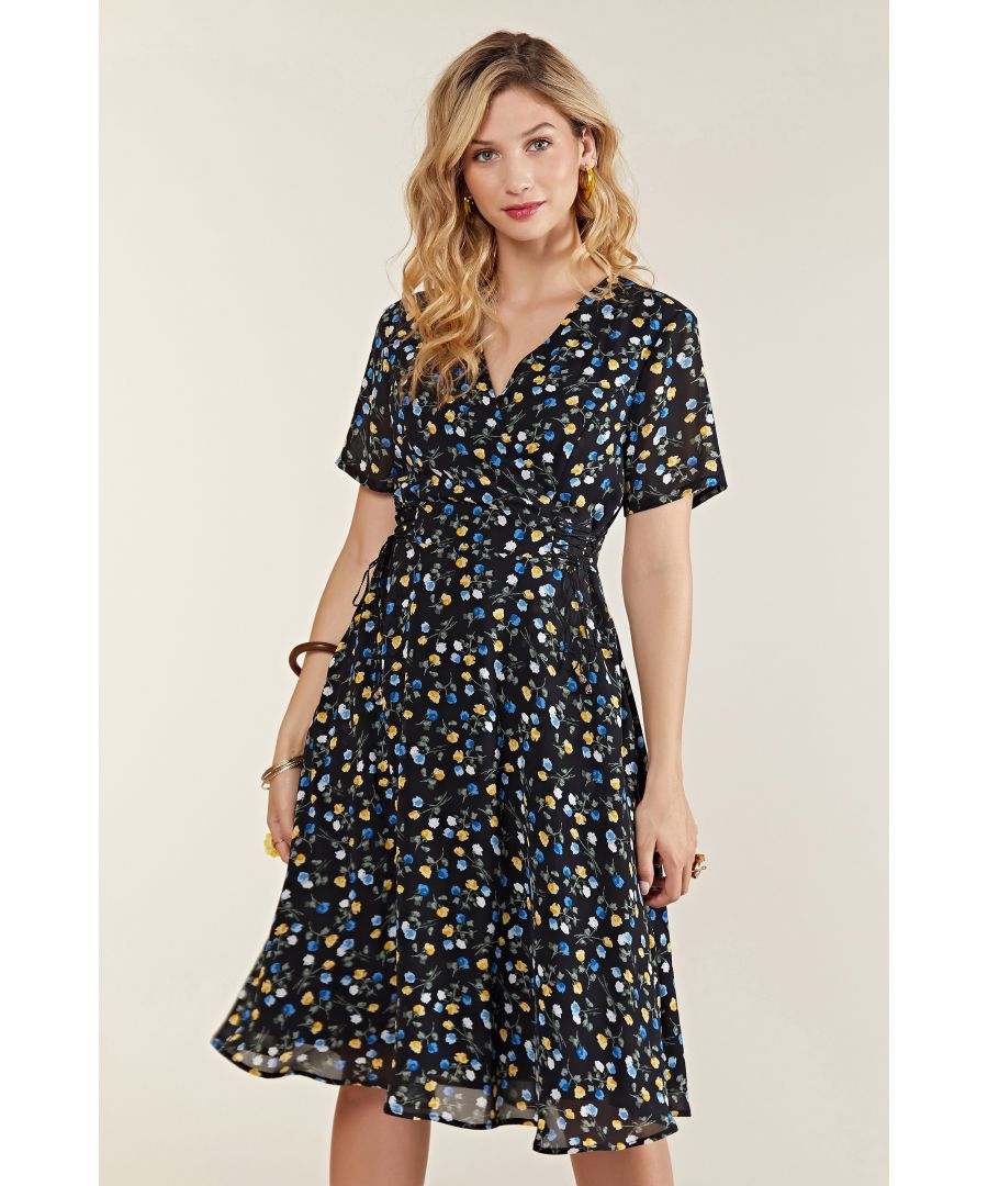 Image for Ditsy Wrap Dress With Tie Detail