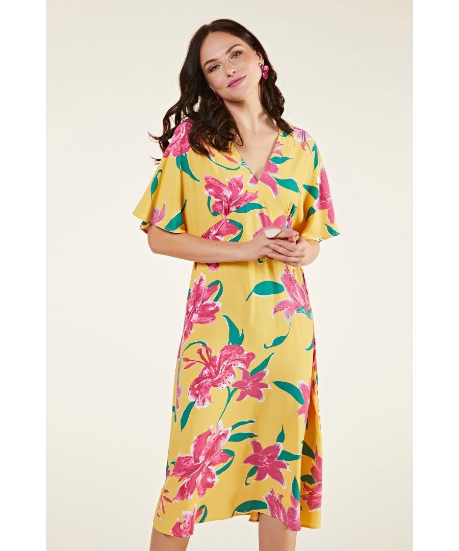 Image for Hibiscus Flower Kimono Midi Dress
