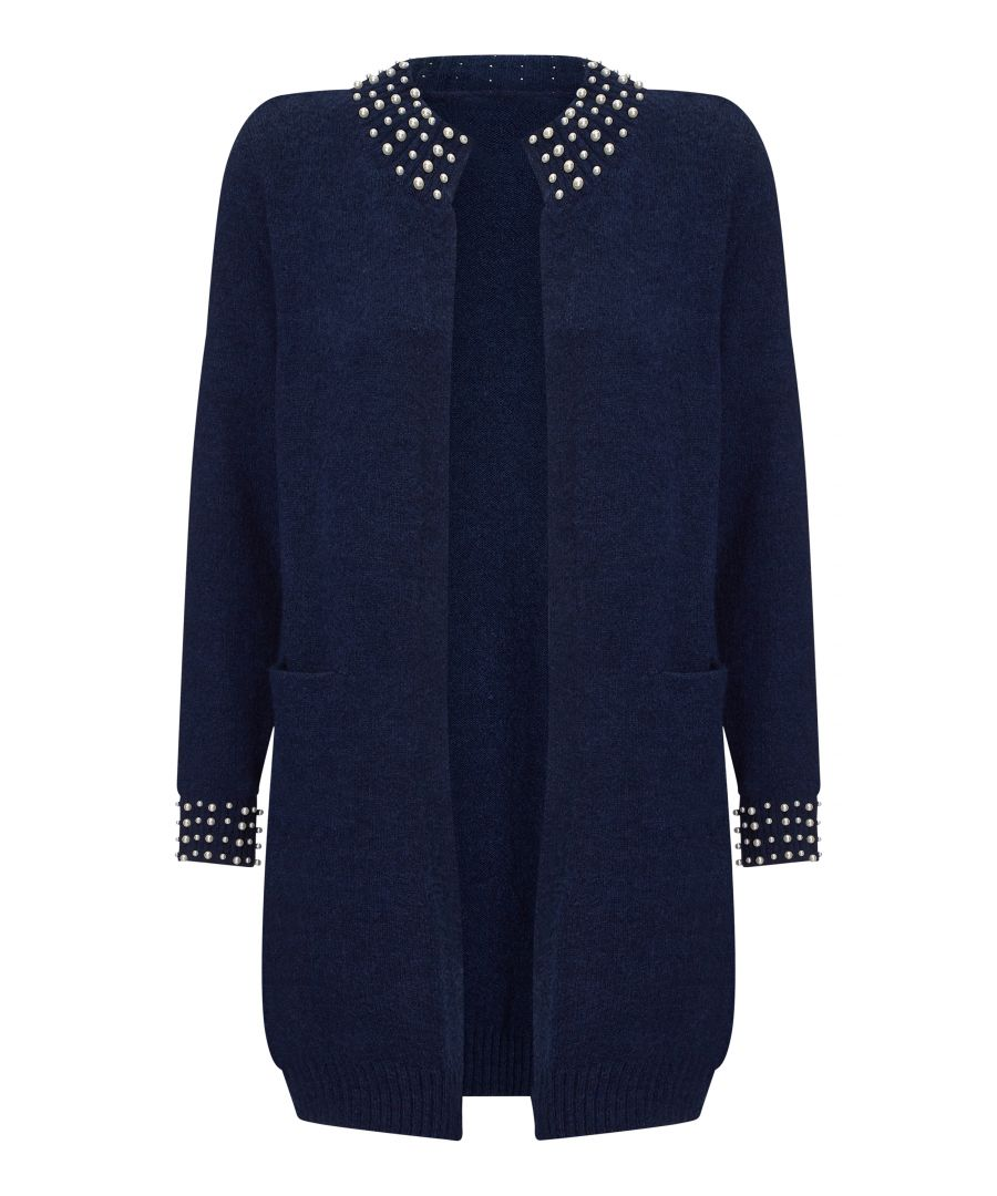 Image for Pearl Detail Knit Navy Cardigan
