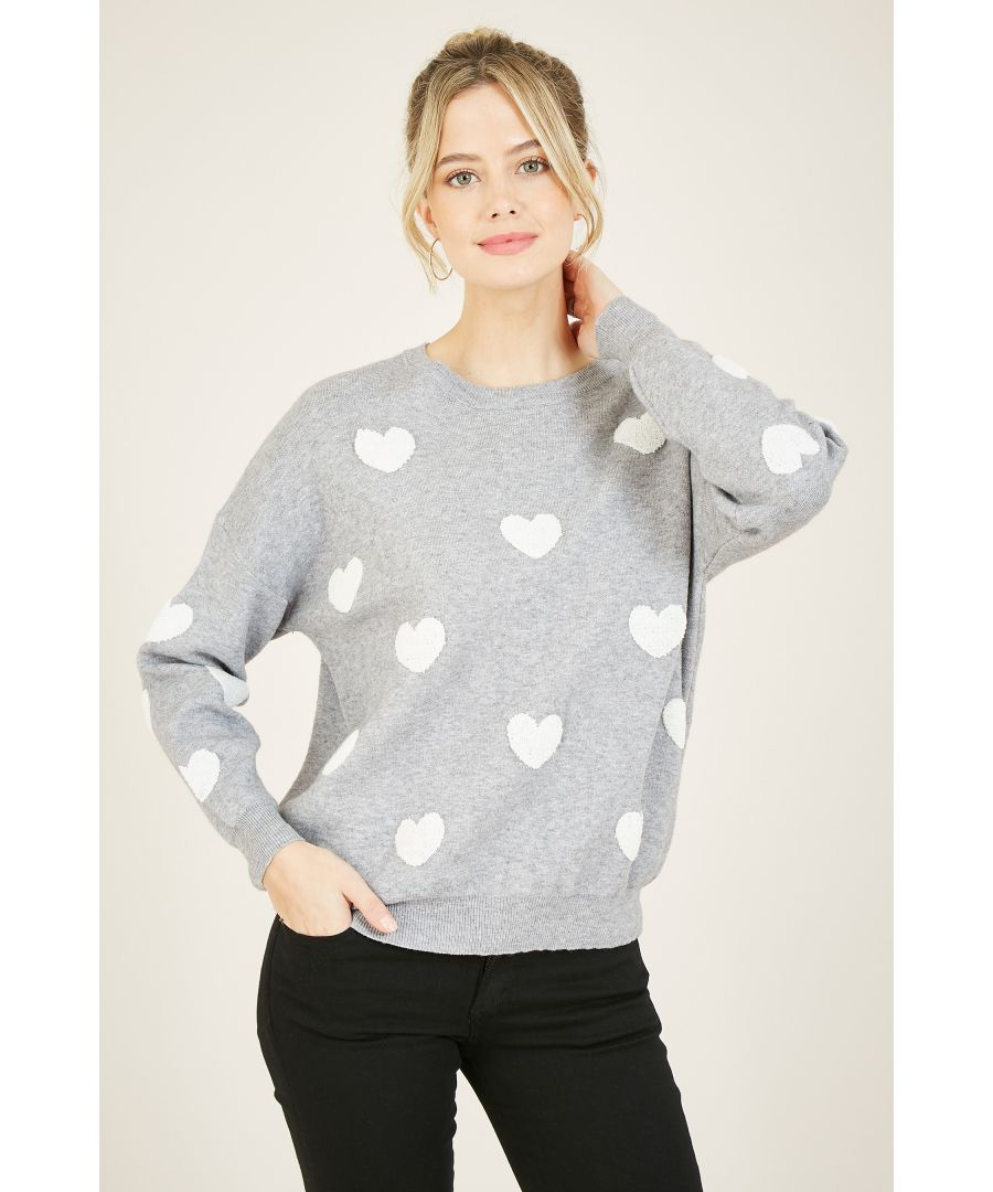 Image for Yumi Grey Heart Knitted Jumper