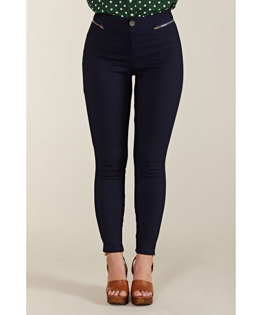 Image for Zip Pocket Navy Jegging