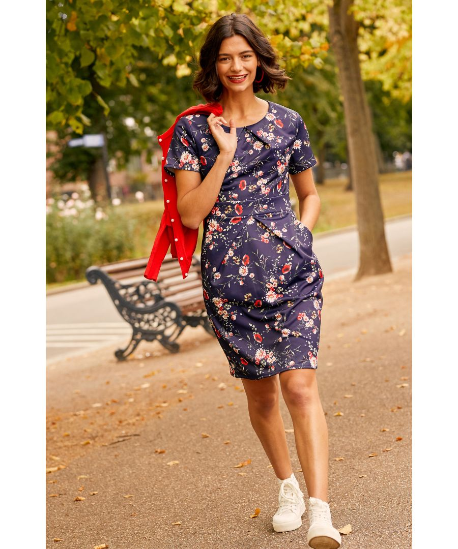 Image for Navy Daisy Print Pocket Dress With Tie Back