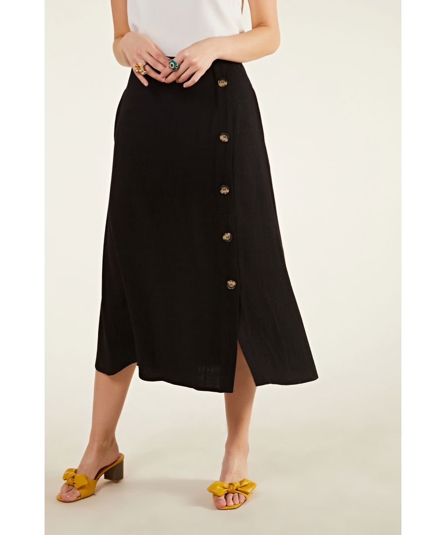 Image for Side Button Midi Skirt