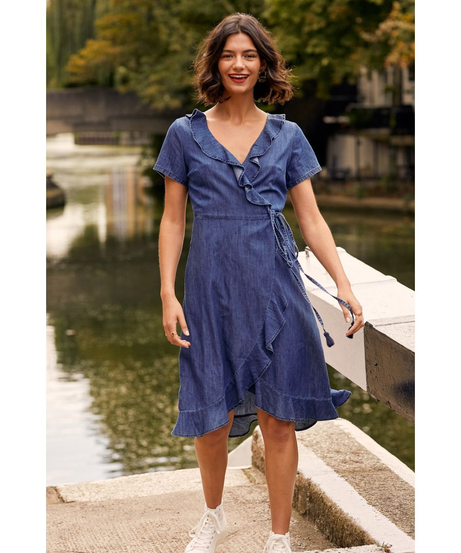Image for Blue Denim Wrap Dress