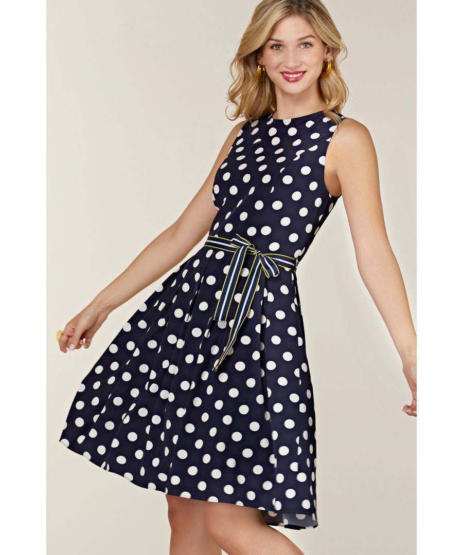 Image for Navy Spot Print Dress With Contrast Belt