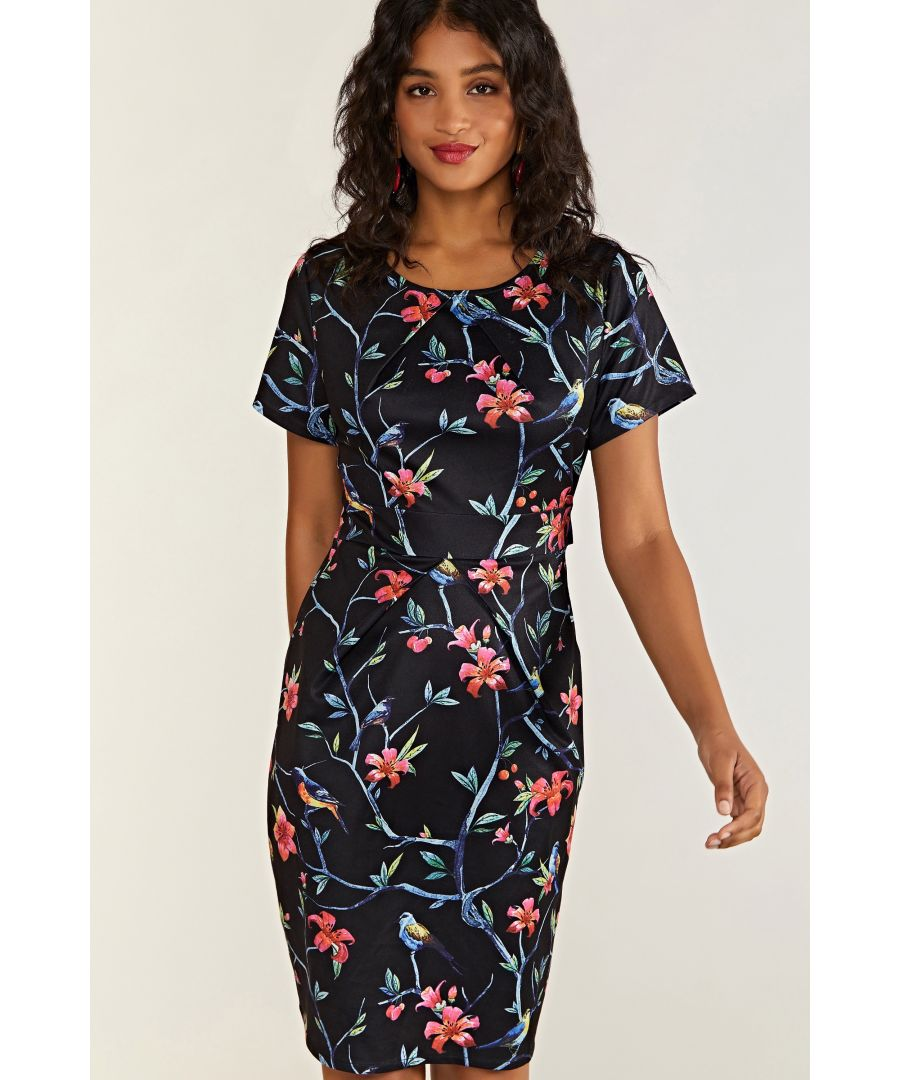 Image for Black Oriental Bird Print Pocket Day Dress