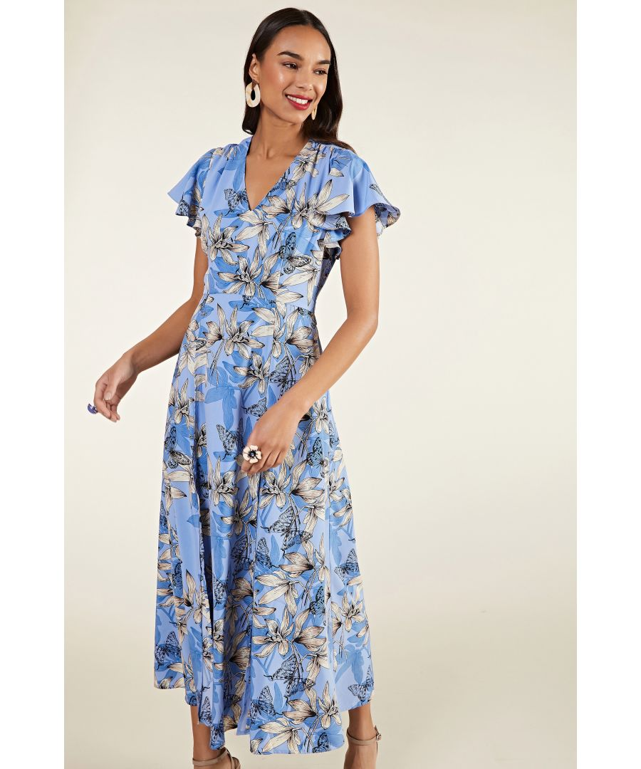 Image for Butterfly Print Maxi Dress With Side Sli