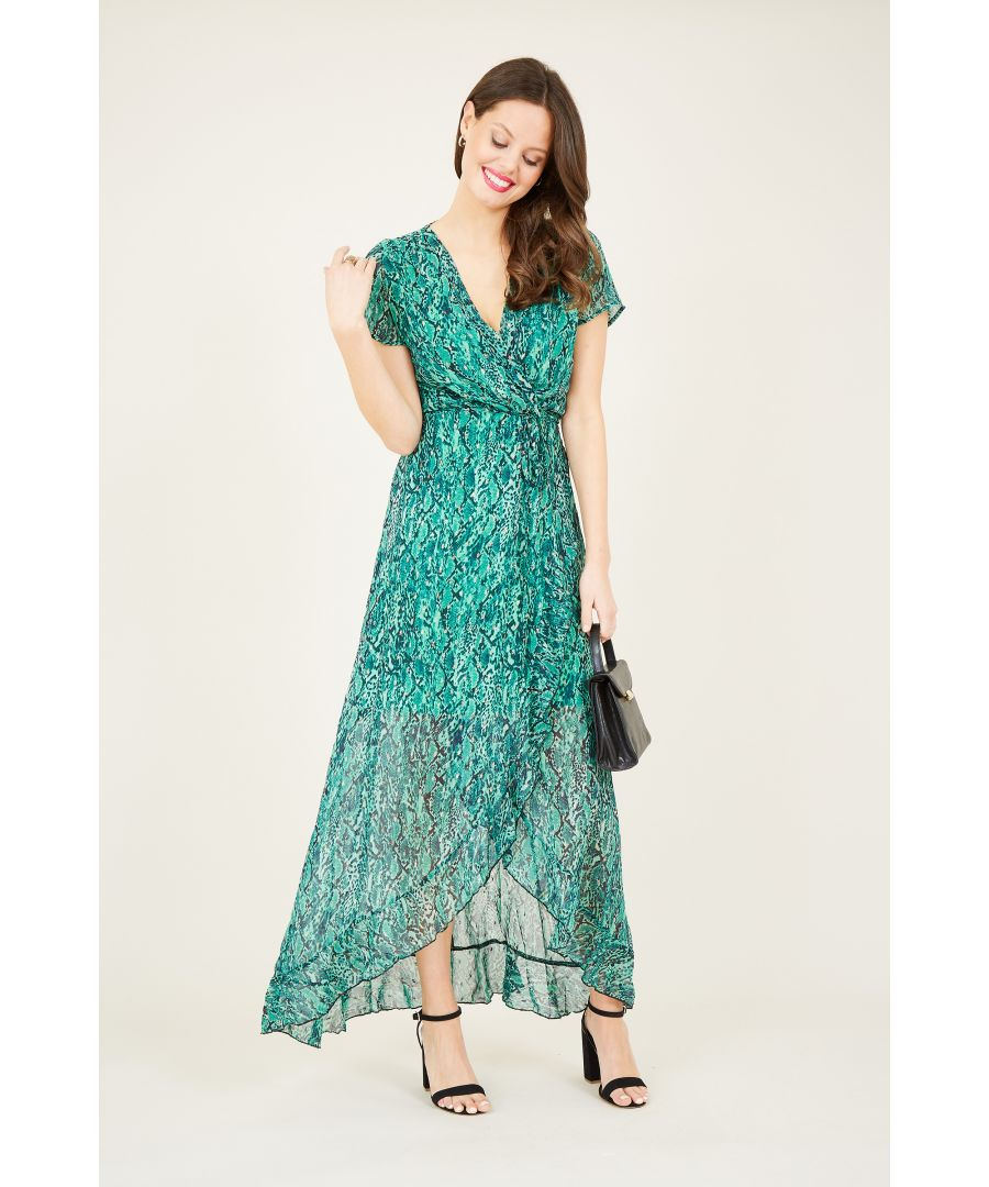 Image for Snake skin wrap dipped hem maxi Dress