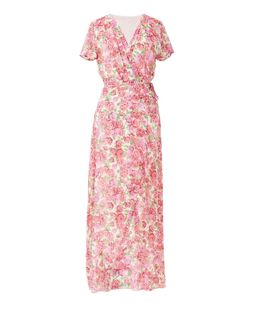 Image for Summer rose print wrap dipped hem maxi D