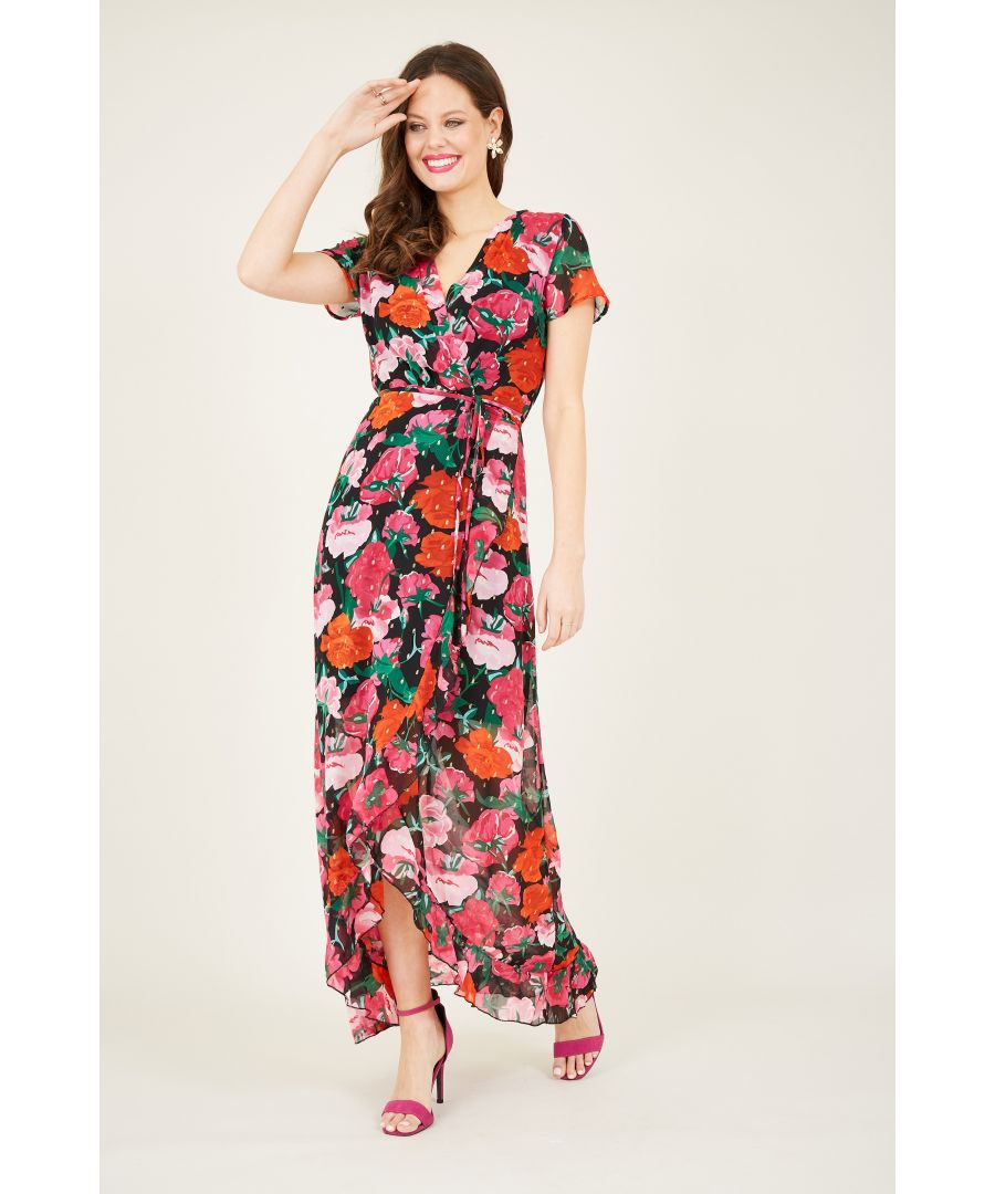 Image for Rose print wrap dipped hem maxi dress