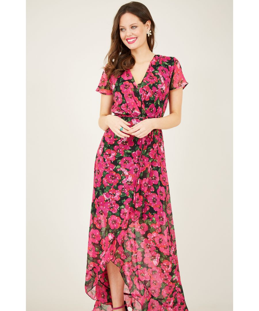 Image for Floral Wrap Dipped Hem Maxi Dress