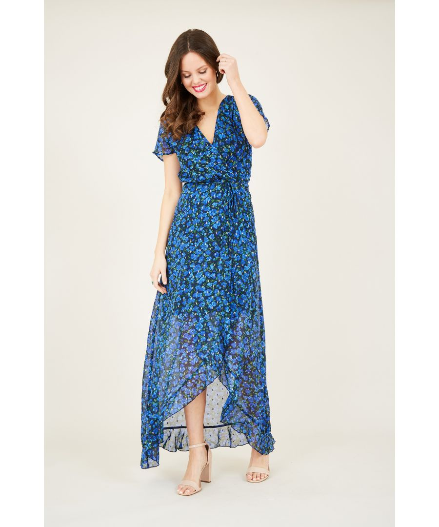Image for Ditsy Wrap Dipped Hem Maxi Dress
