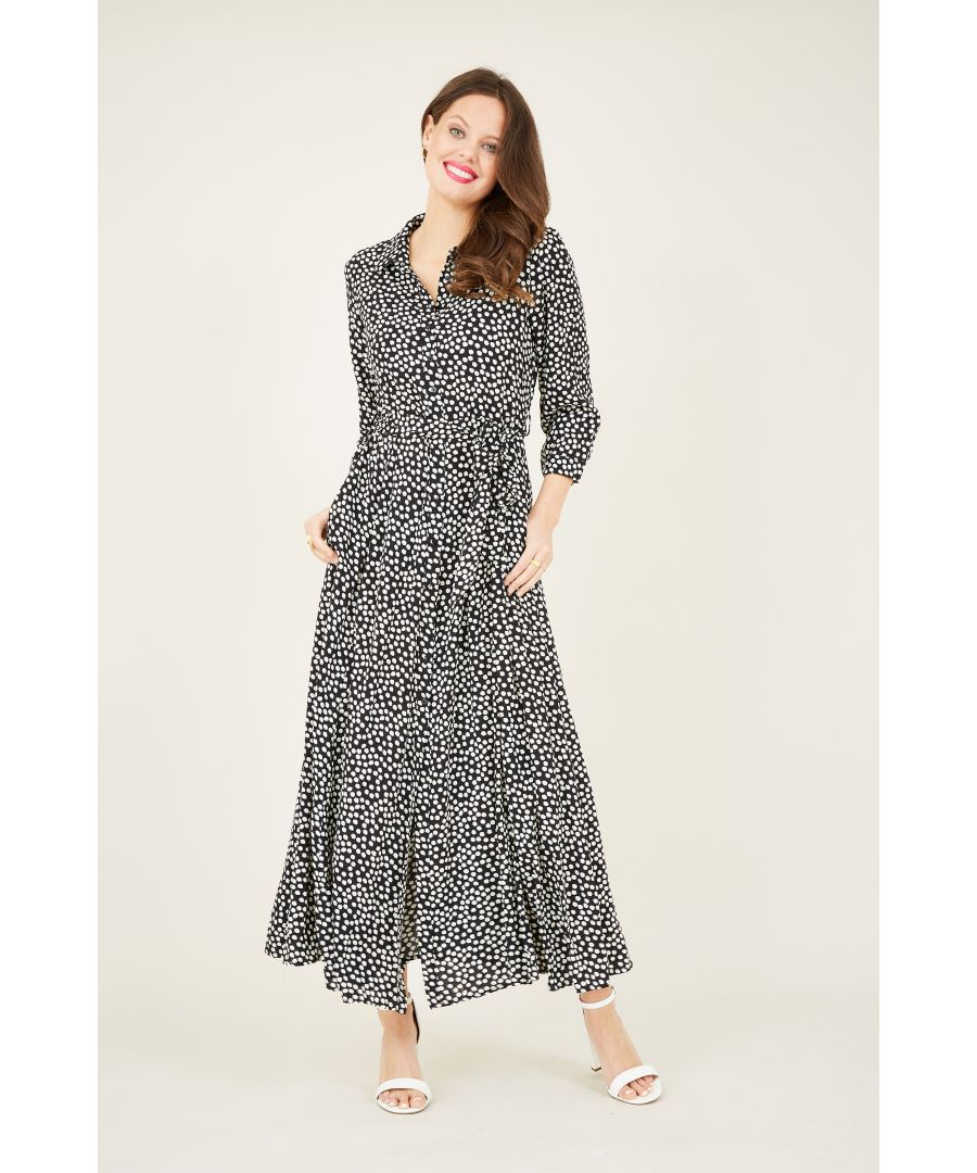 Image for Daisy print maxi shirt dress