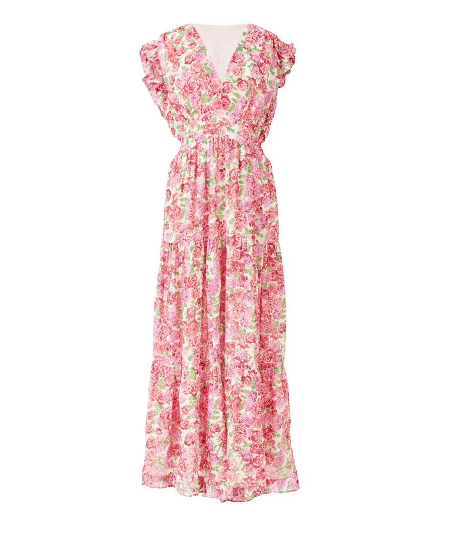 Image for white summer rose print maxi dress