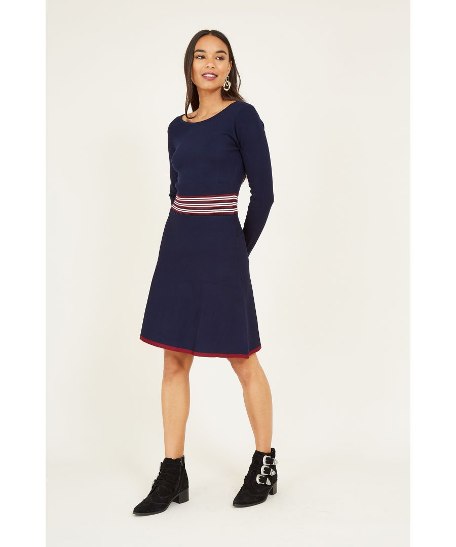 Image for Yumi  Navy Skater Knit Dress With Ripple Knit