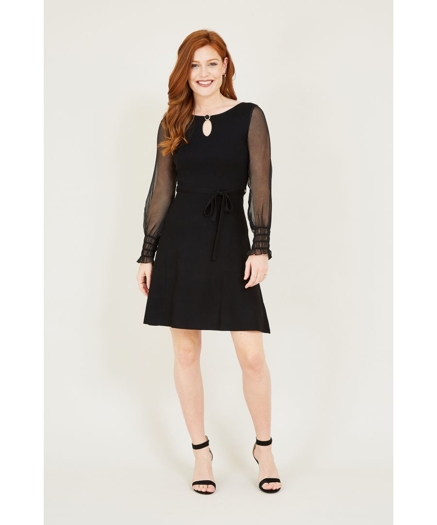 Image for Yumi Black Skater Dress With Georgette Sleeve