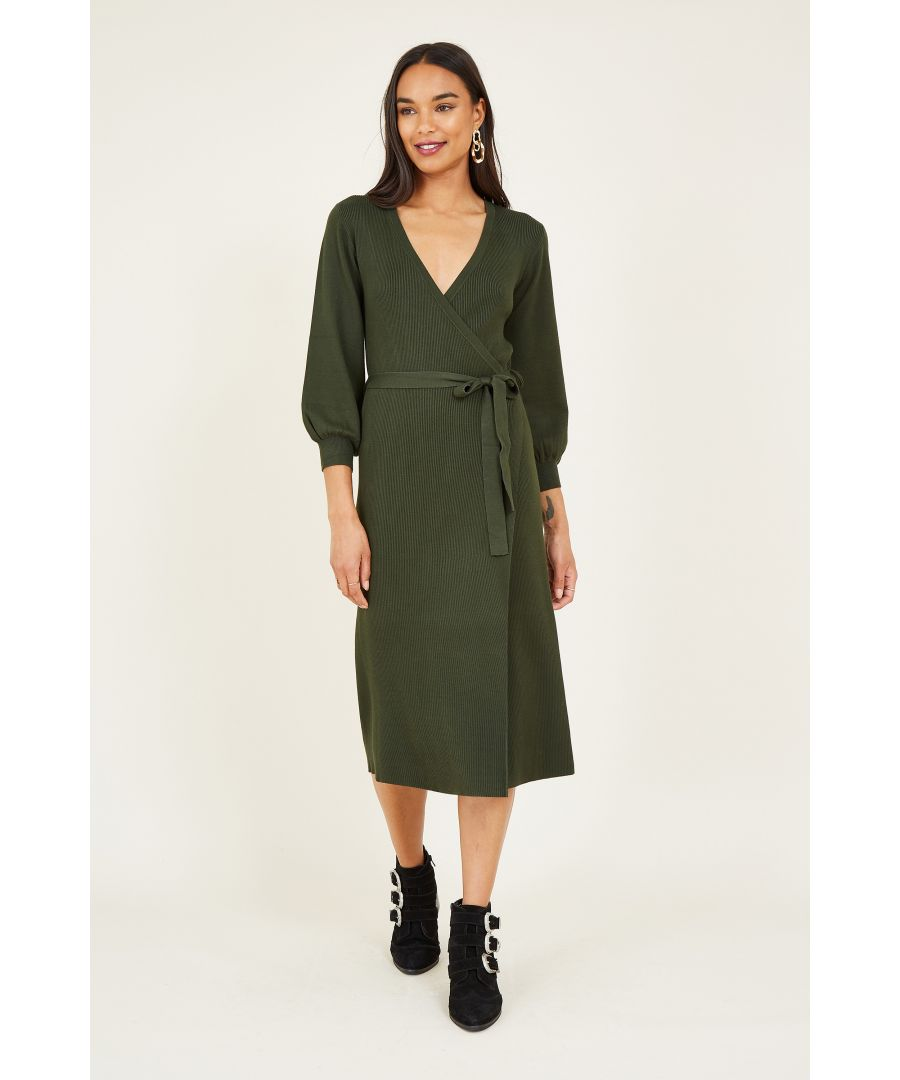 Image for Yumi Green Knit Wrap Dress