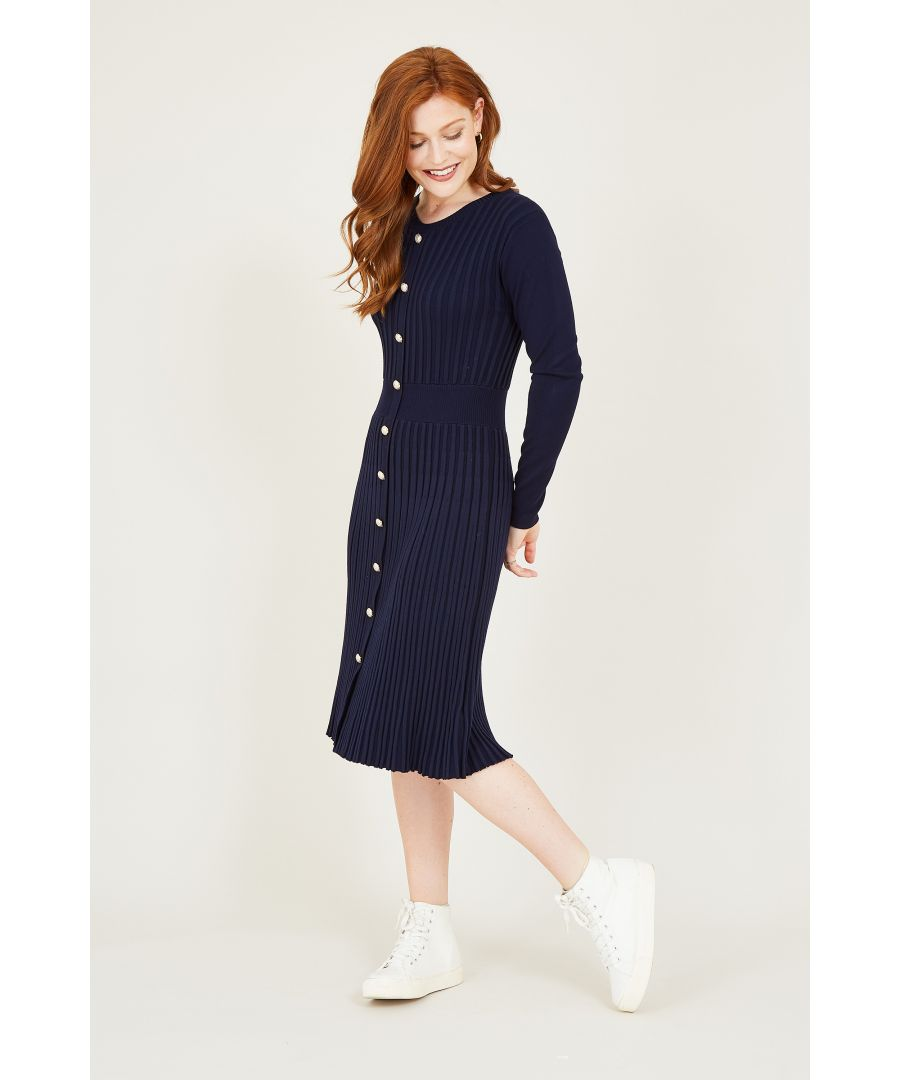 Image for Yumi Navy Knitted Button Detail Dress