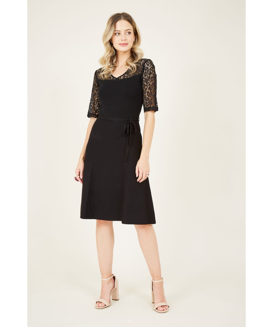 Image for Yumi Black Lace Knitted Skater Dress
