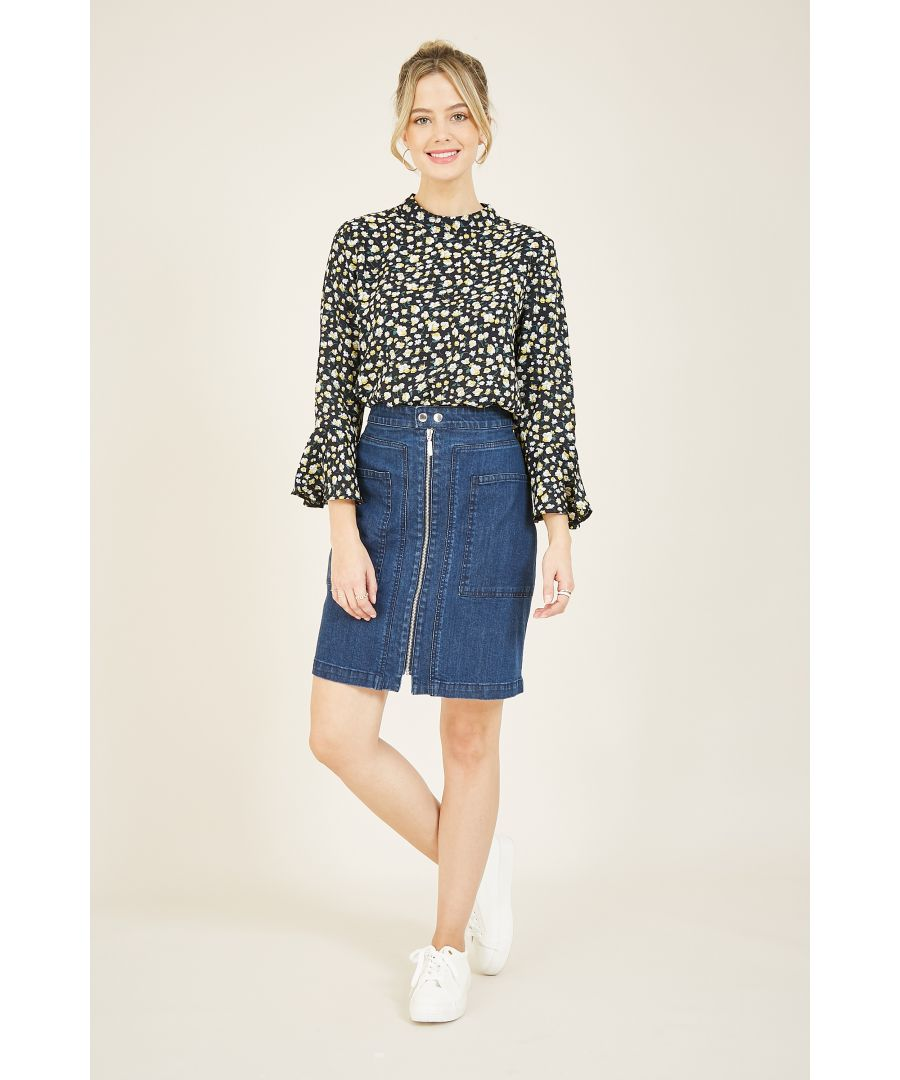 Image for YUMI Blue Denim Fitted Skirt With Zip Detail