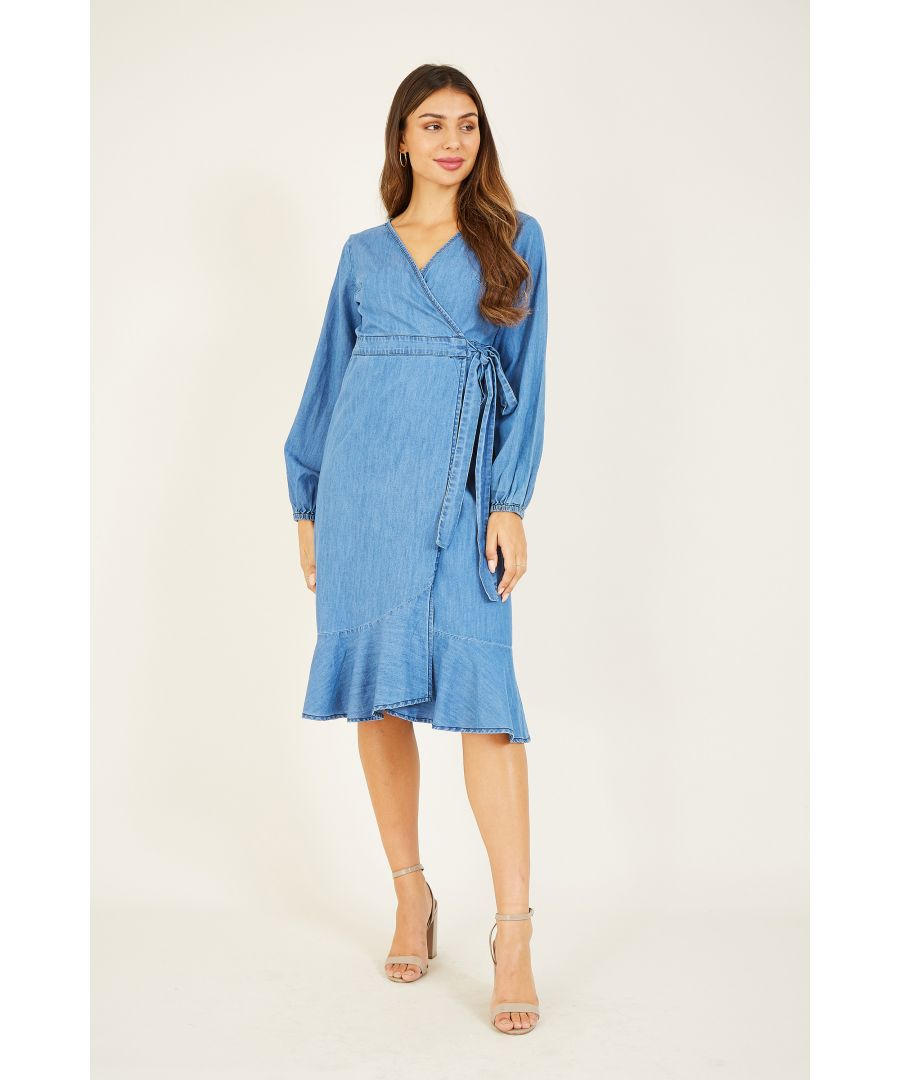Image for YUMI Blue Denim Wrap Dress With Long Sleeve