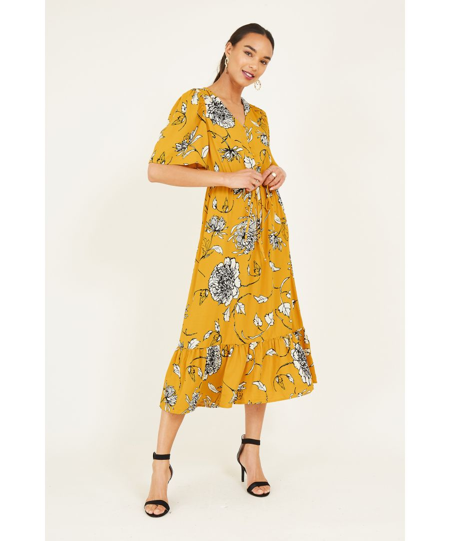 Image for Mustard Sketchy Rose Midi Dress With Fri