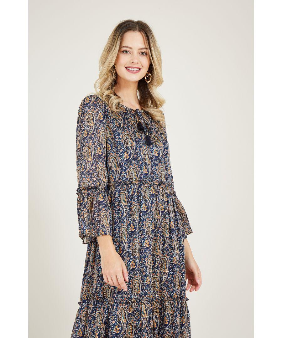 Image for Navy Paisley Print Smocked Dress