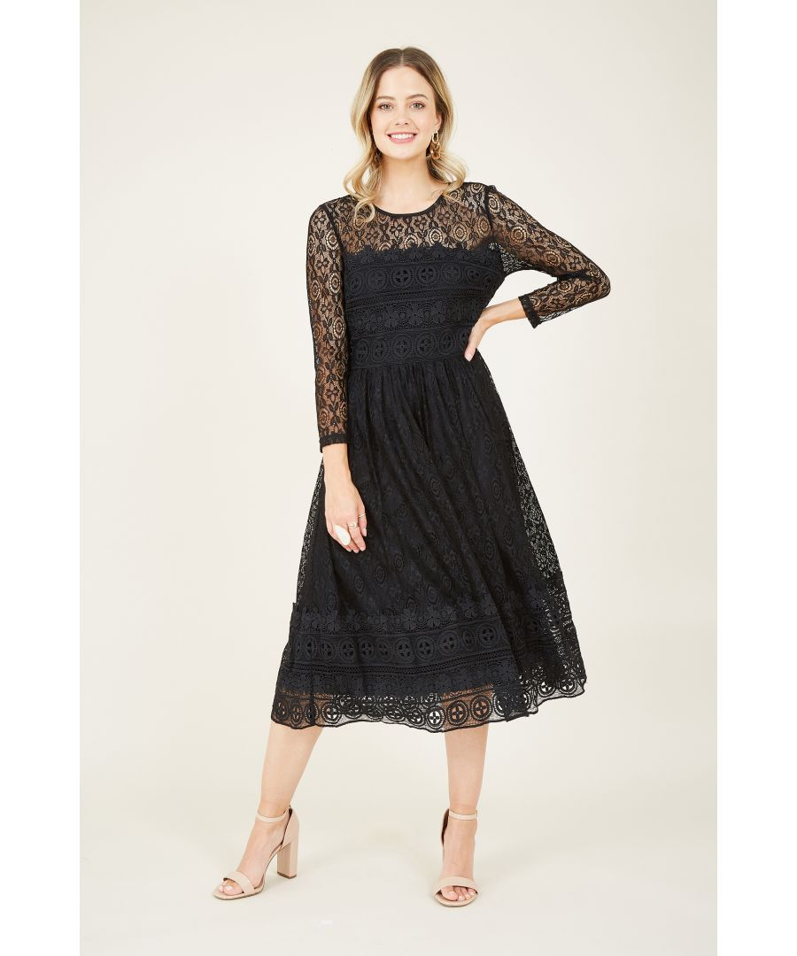 Image for Yumi Black Lace Skater Dress