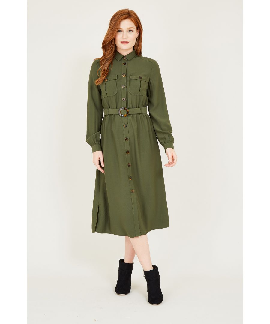 Image for Green Military Shirt Dress