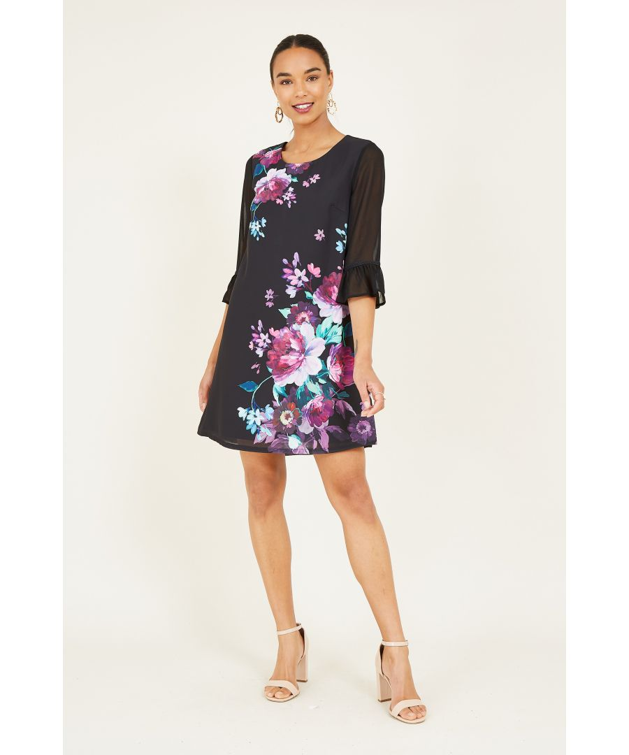 Image for Yumi Black Floral Peony Tunic With Frilled Sleeve
