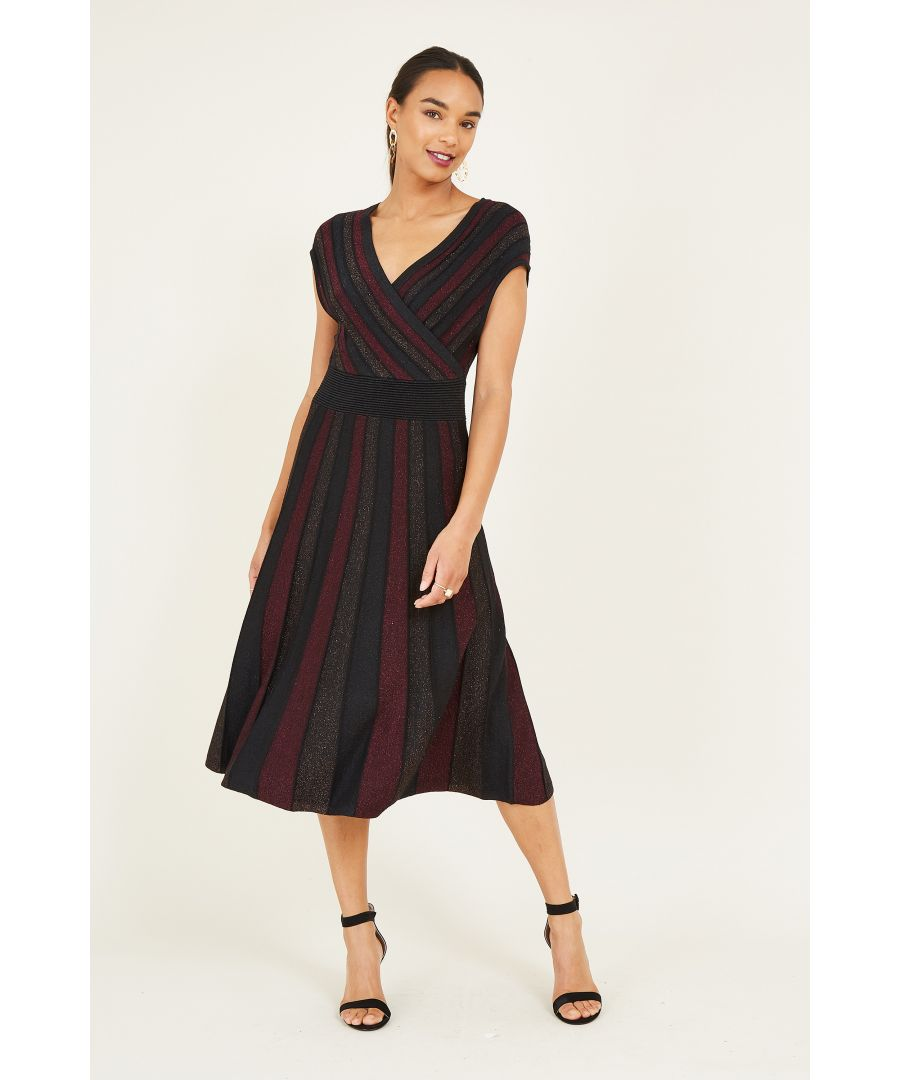 Image for Yumi Lurex Knit Wrap Over Pleated Dress