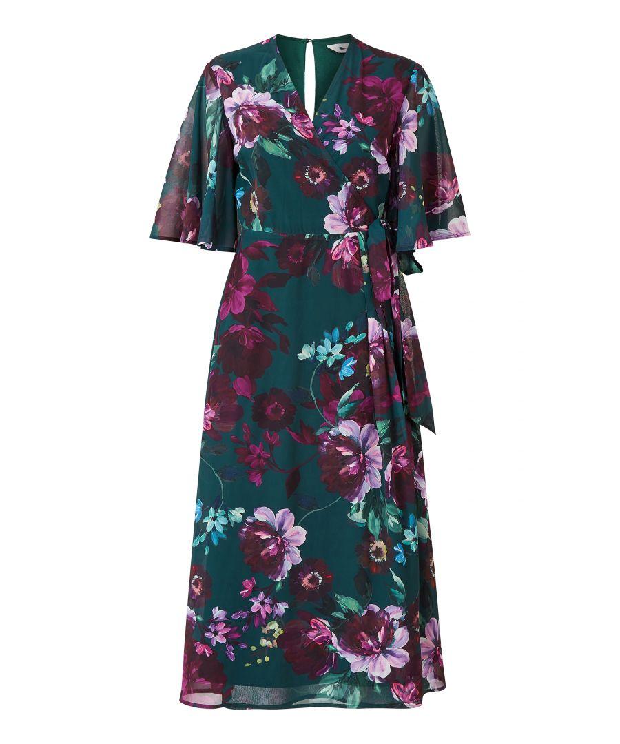 Image for Yumi Green Rose Print Wrap Midi Dress
