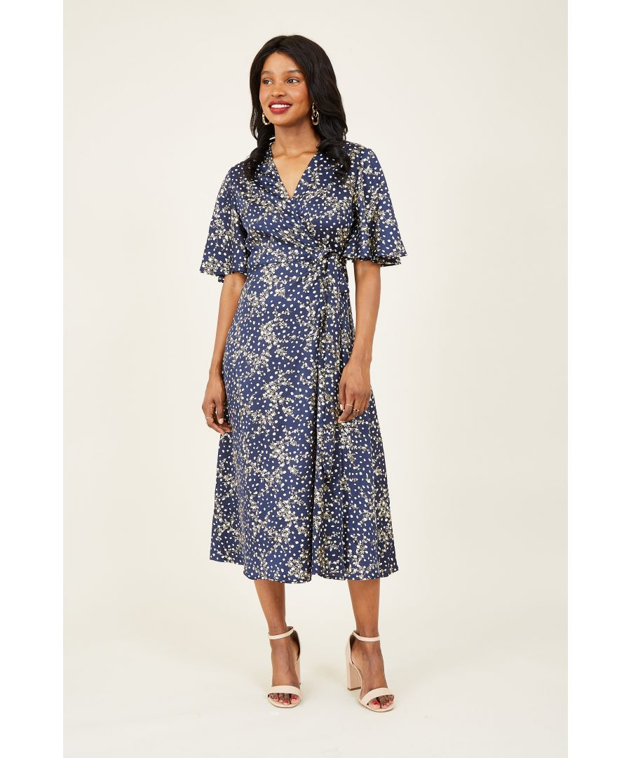 Image for Yumi Navy Printed Foil Floral Wrap Midi Dress