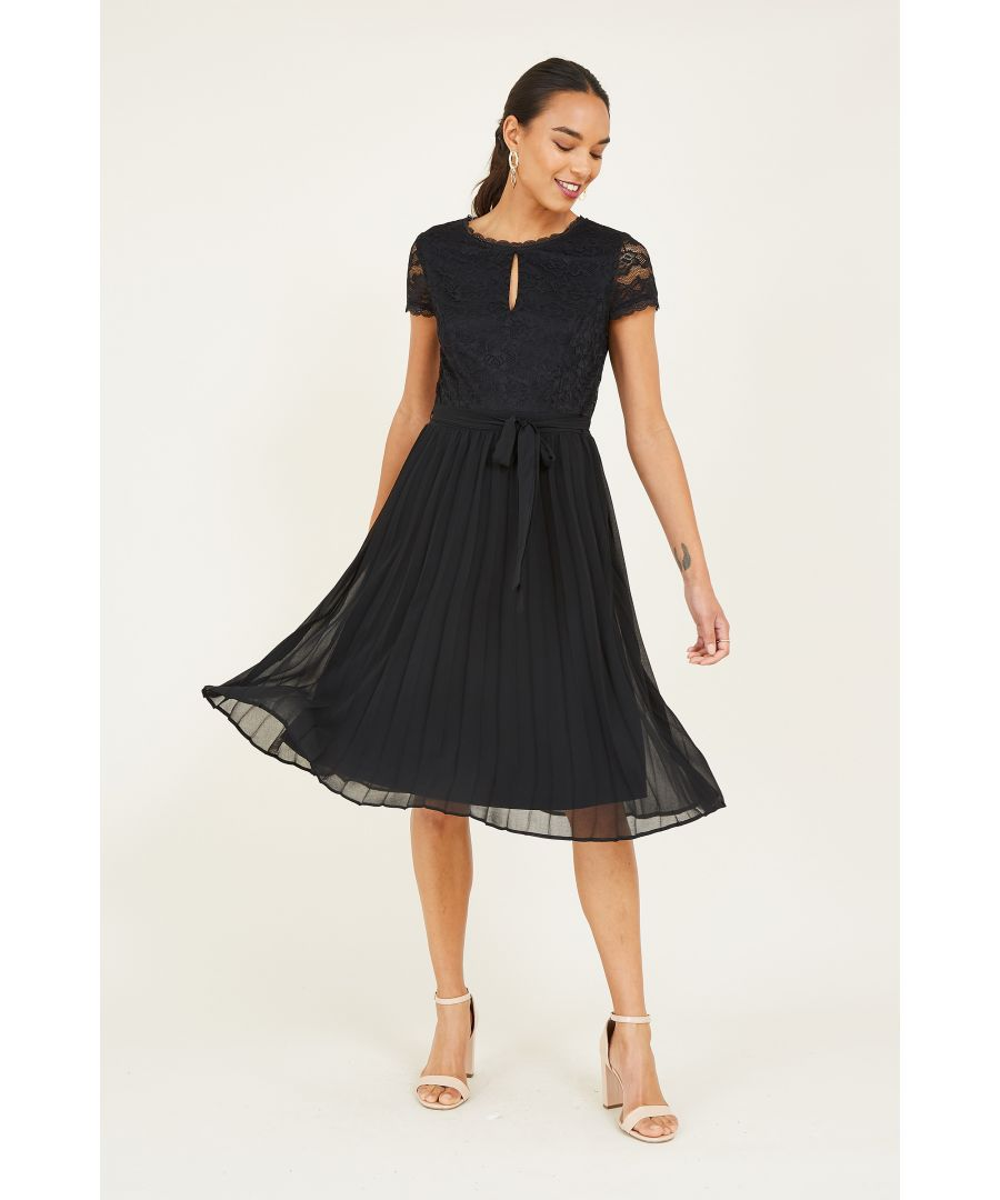 Image for Yumi Black Lace Bodice Skater Dress With Pleated