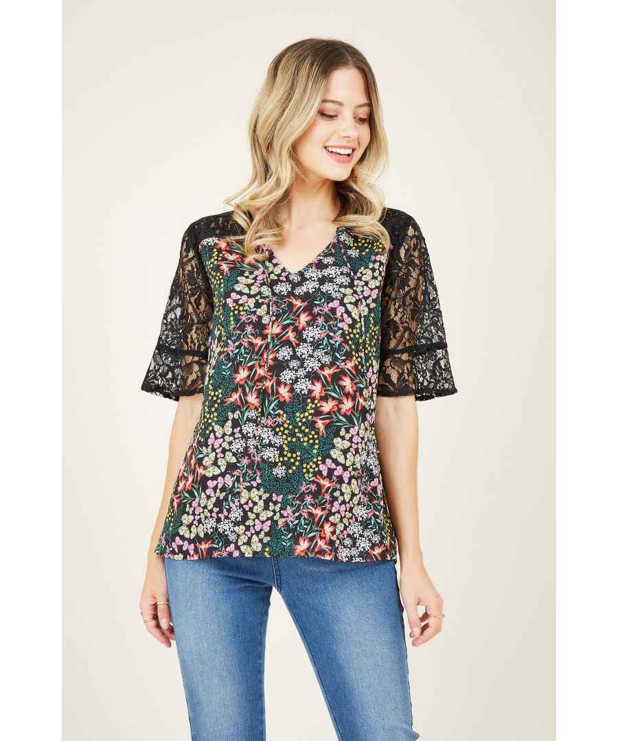 Image for Butterfly Print Lace Top