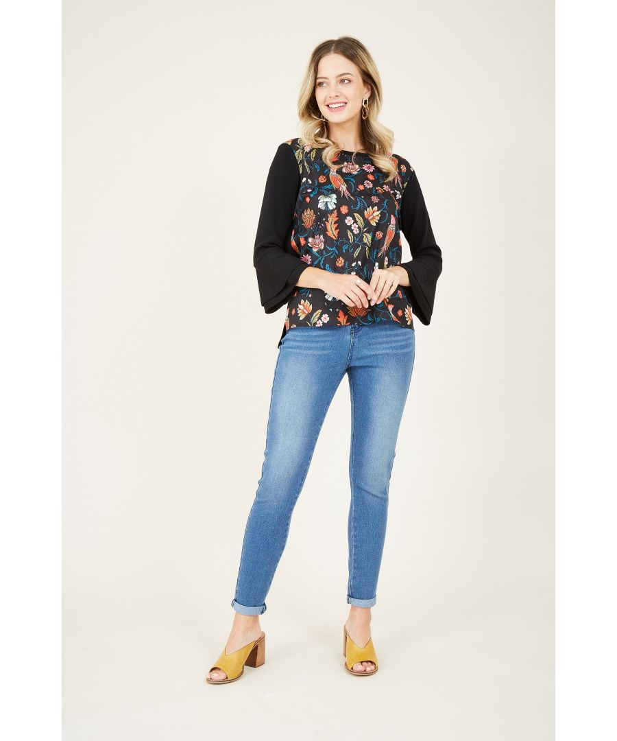 Image for Yumi Peacock Woven Front Knit Jumper With Frill