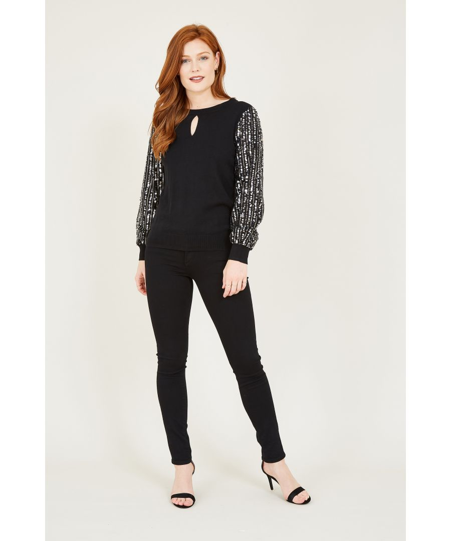 Image for Yumi Black Sequin Sleeve Knit Jumper